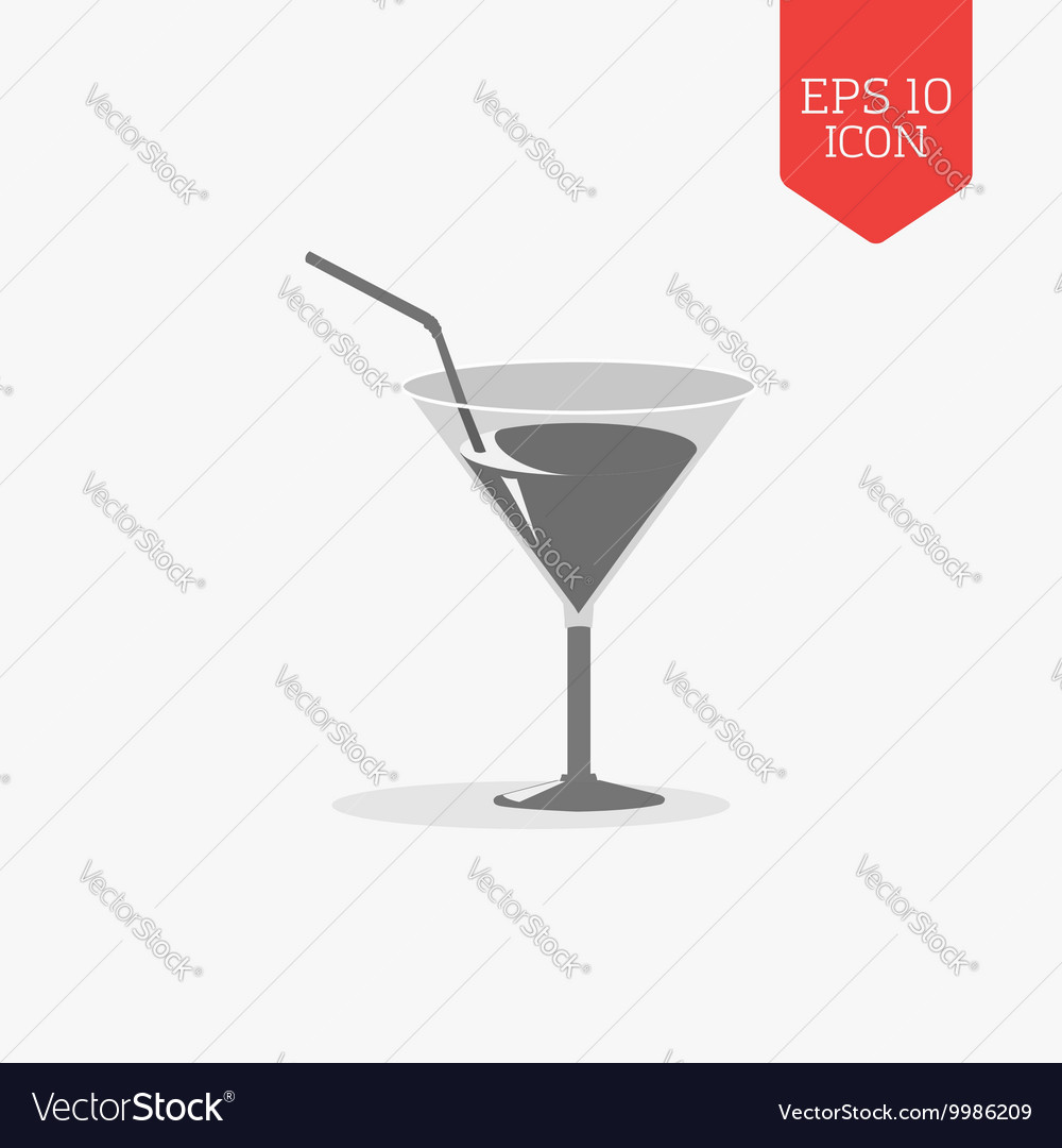 Cocktail glass with tube icon Flat design gray vector image