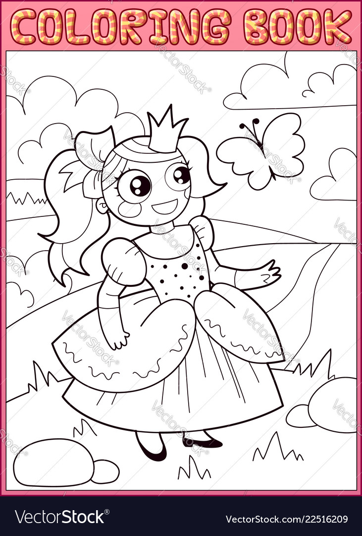 Coloring book little princess on the meadow