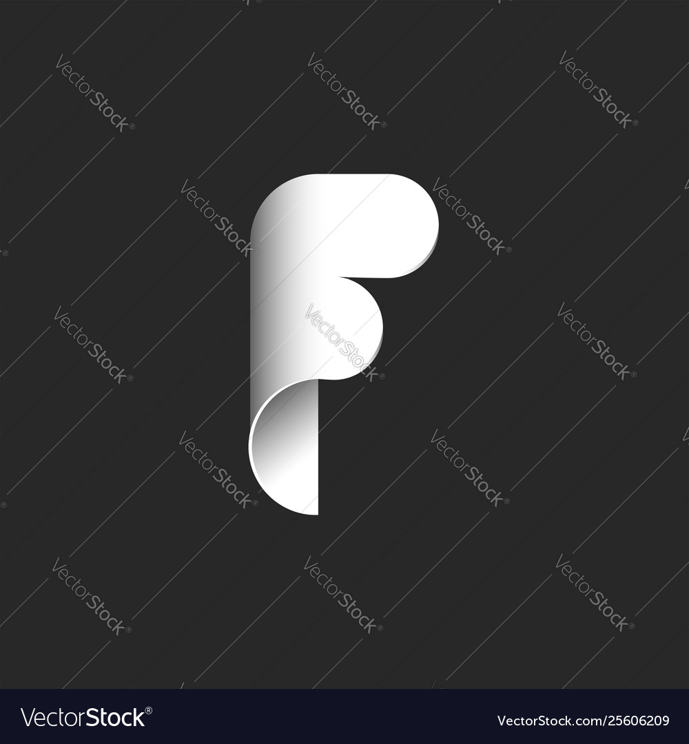 Creative capital f letter logo white rolled paper