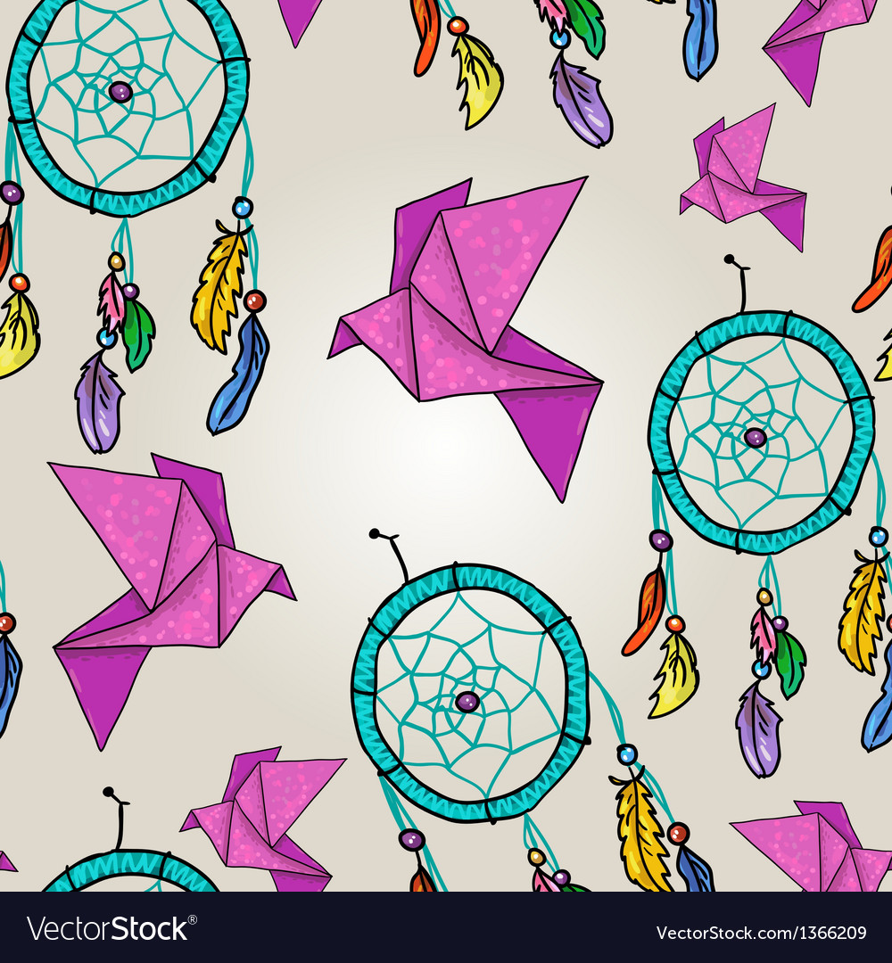 Cute background with origami and dream catchers