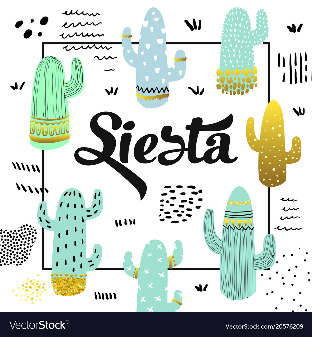Cute cactuses design childish background
