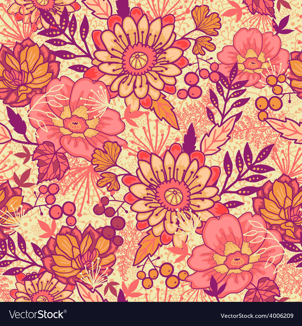 Fall Flowers Seamless Pattern Background Vector Image