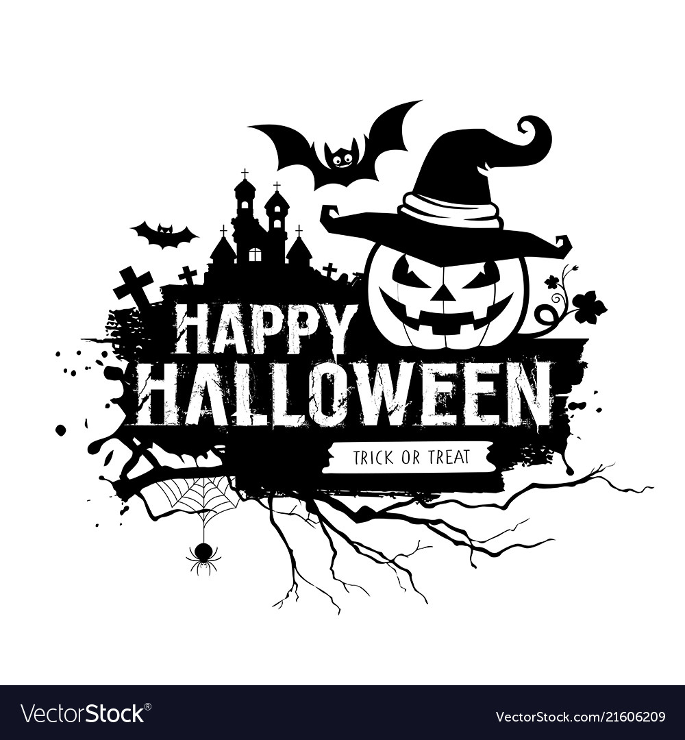 Halloween Vector Black And White.Happy Halloween Black And White Message