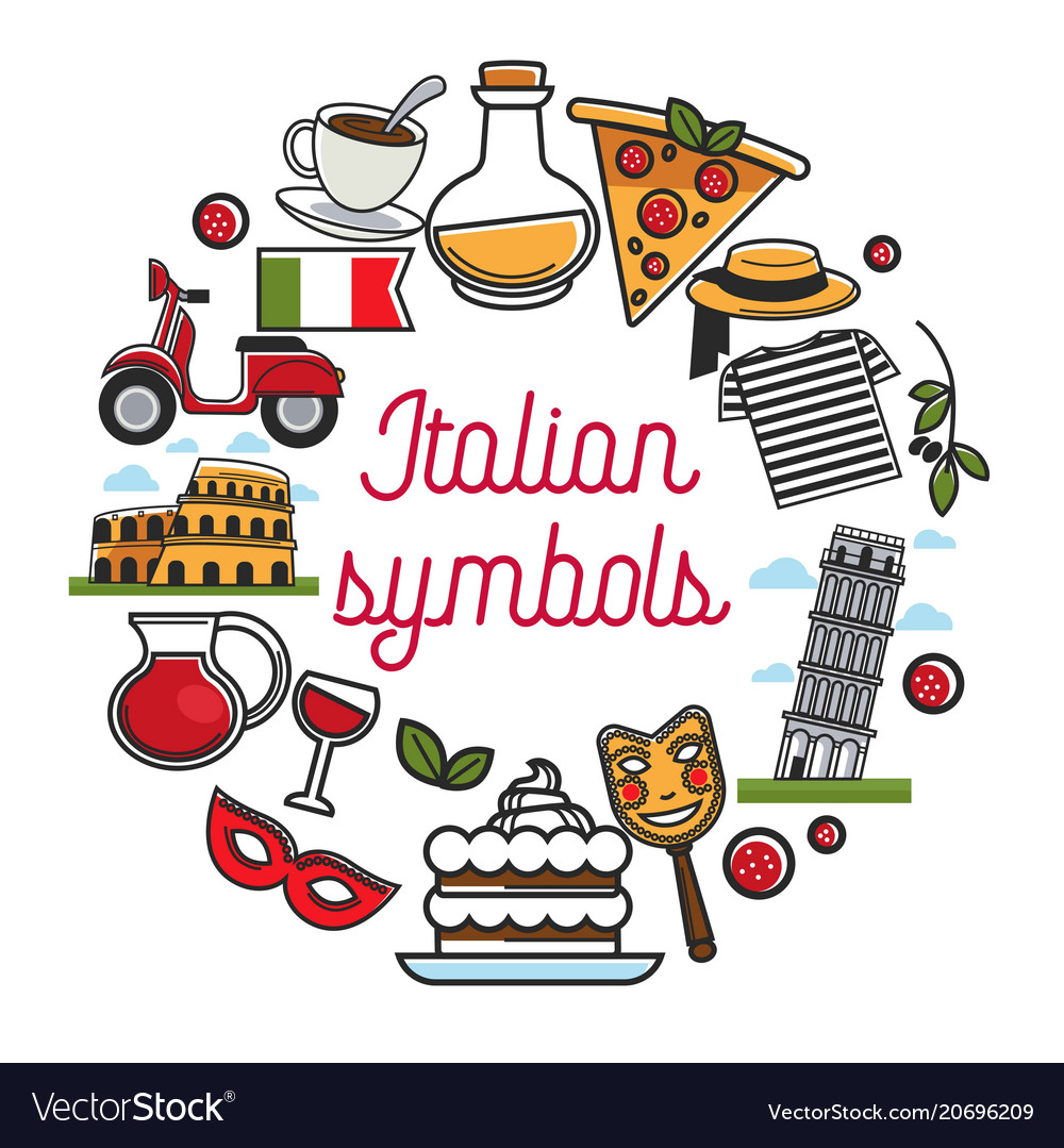 Italian Symbols Poster With National Architecture Vector Image