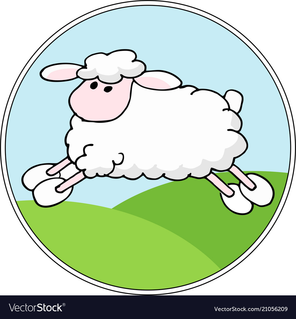 Landscape background with cartoon sheep