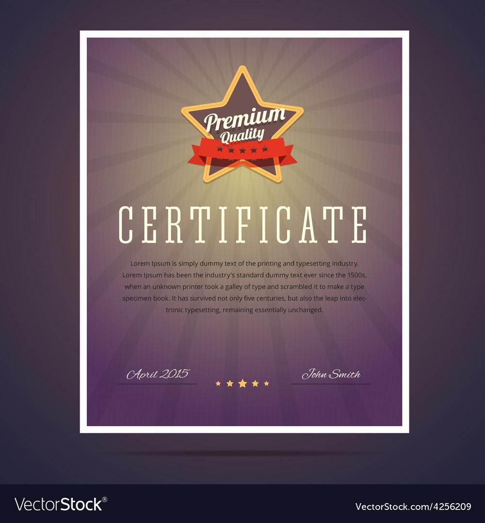 Premium quality certificate