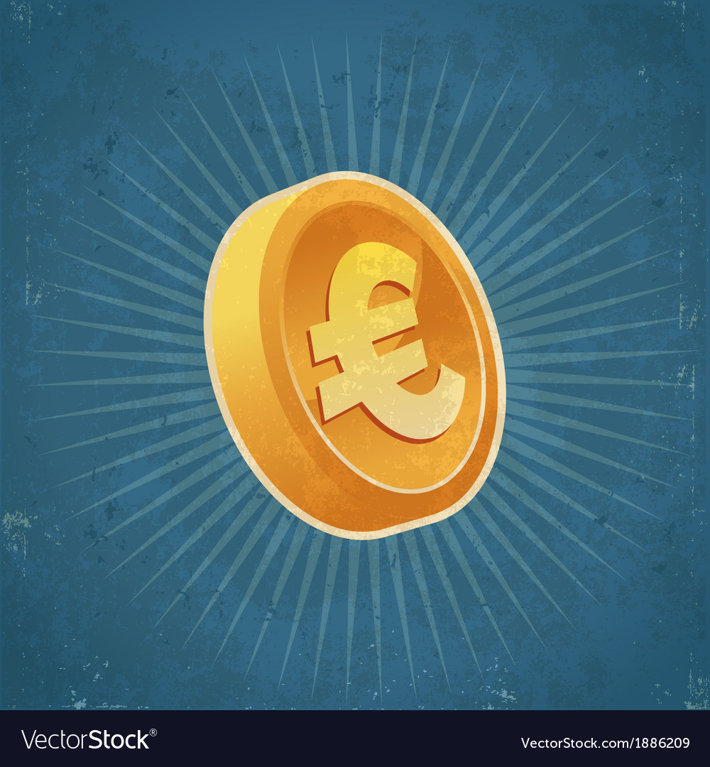 Retro Gold Euro Coin vector image