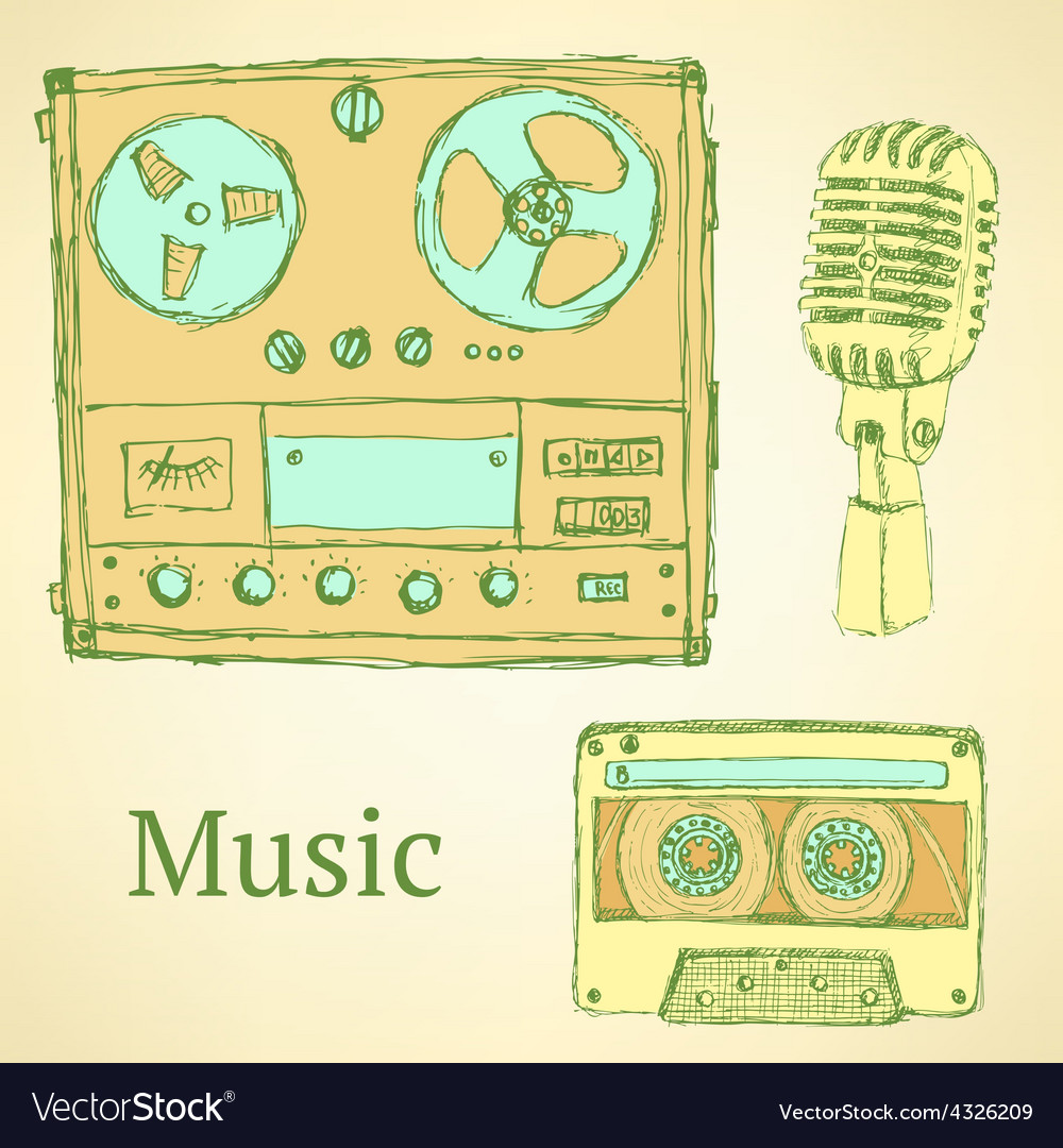 Sketch musical set in vintage style vector image