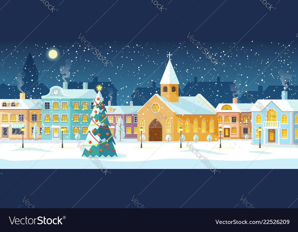 Snowy night in cozy christmas town city panorama