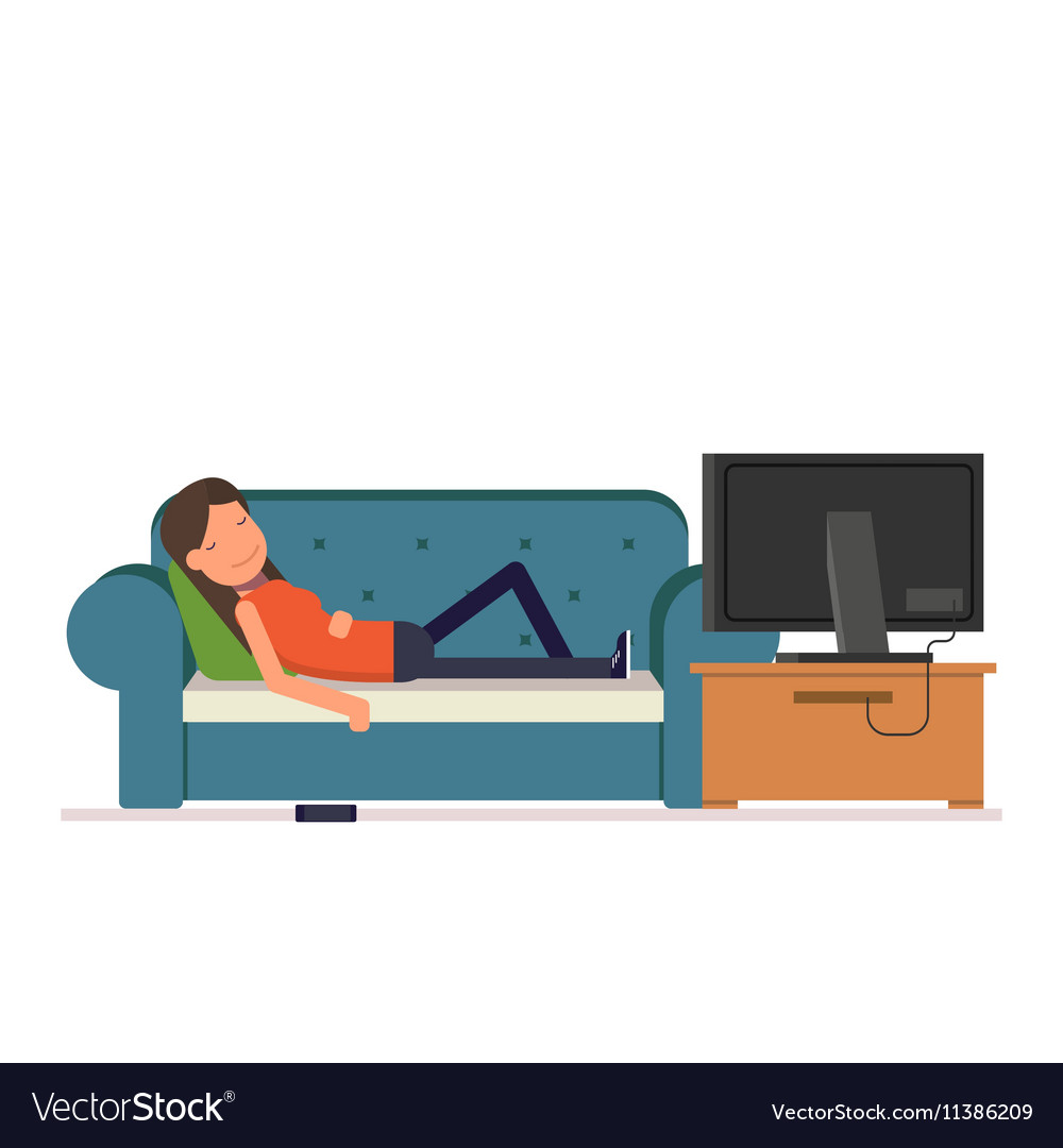 The girl sleeps on the sofa watching television