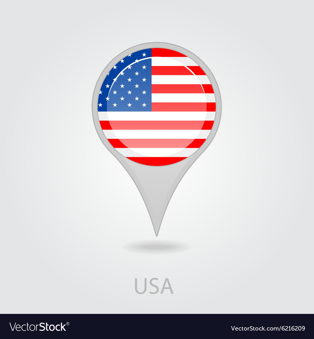 United States Of America Flag Pin Map Icon Vector Image - American-flag-us-map