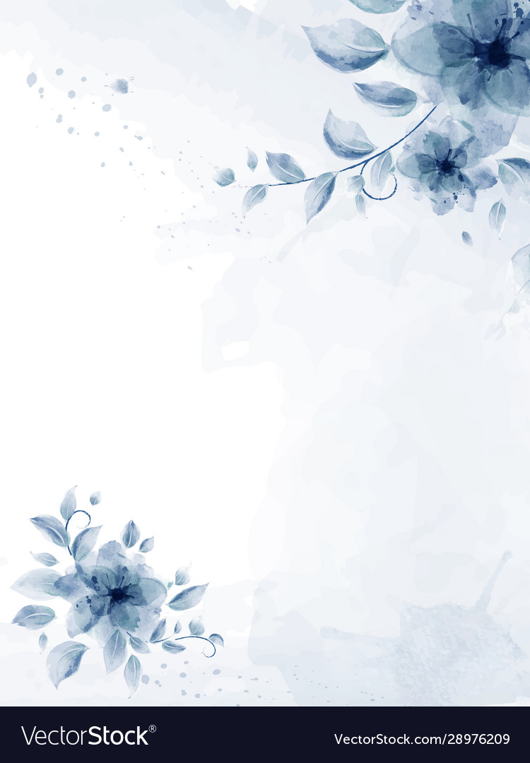 Watercolor hand painted with blue flower bouquet