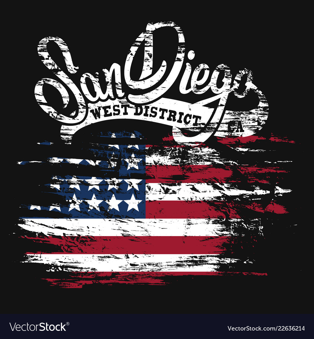 American flag and san diego text grunge print