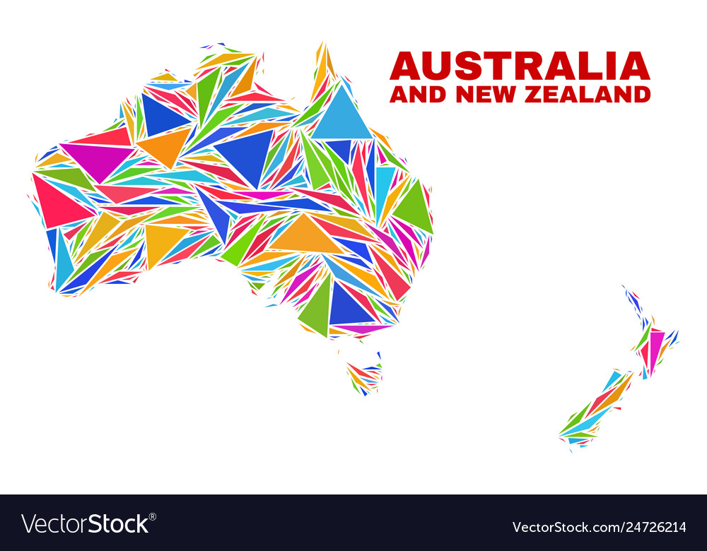 Australia and new zealand map - mosaic of color