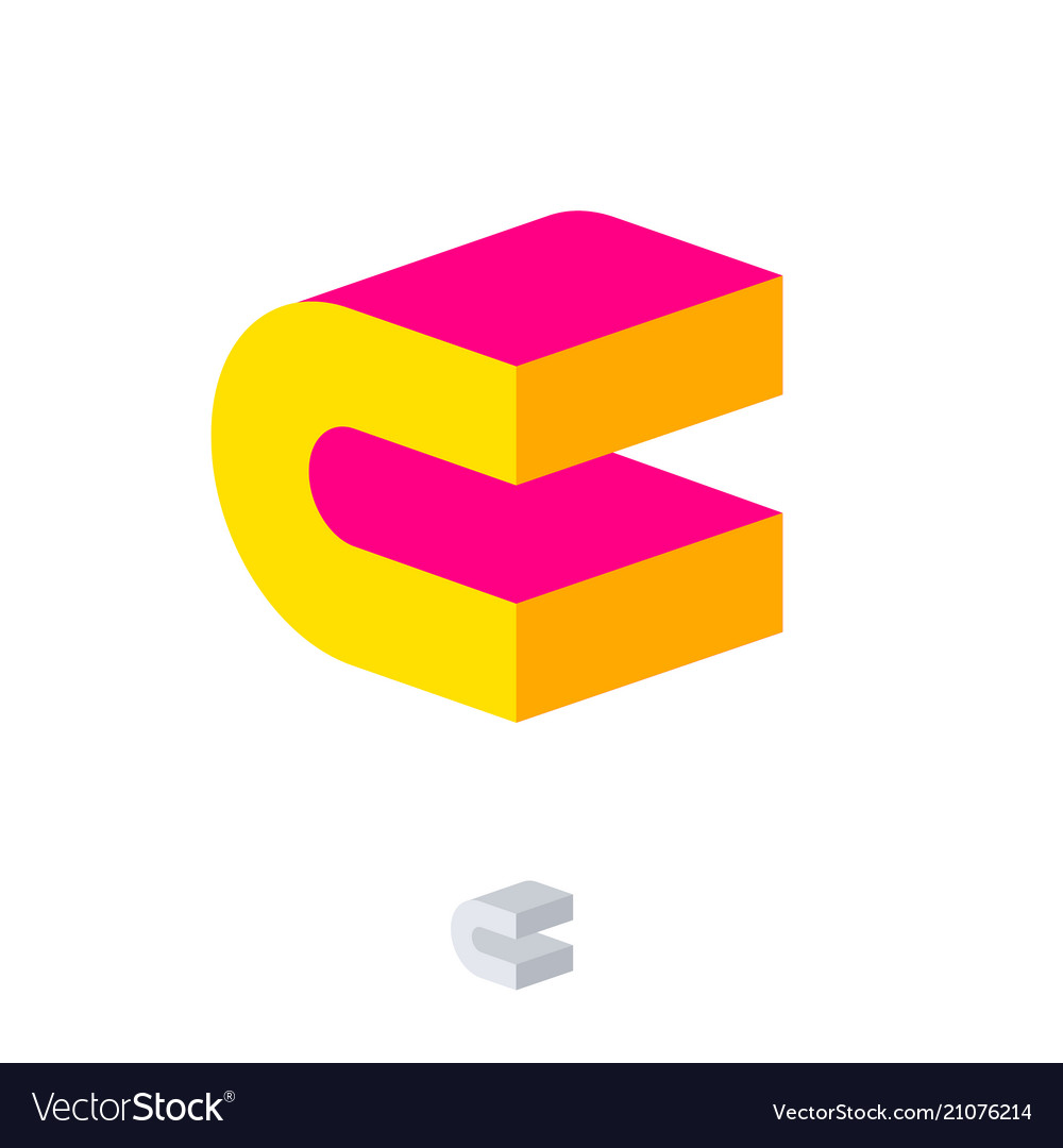 C logo construction emblem 3d pink yellow monogram