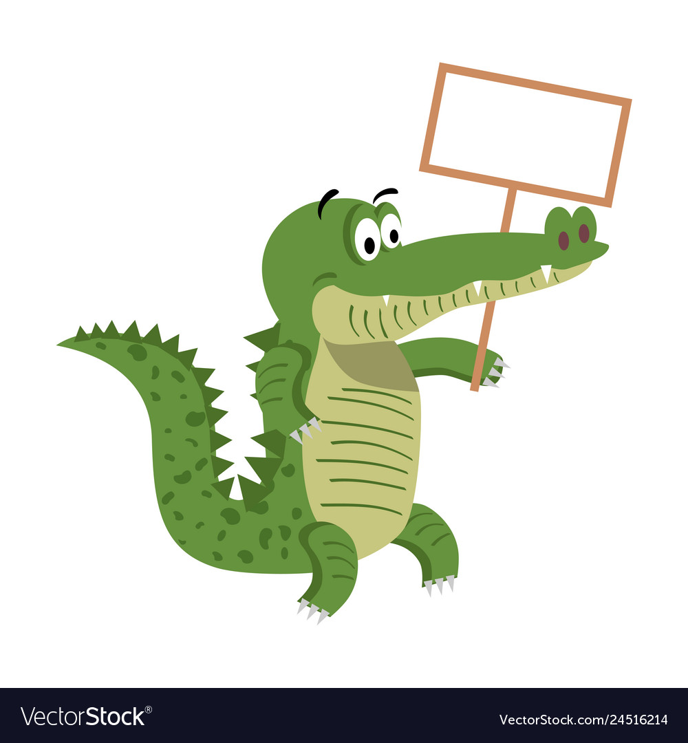 Cartoon crocodiles with empty signboard