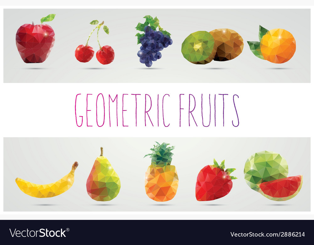 Collection geometric polygonal fruits triangles