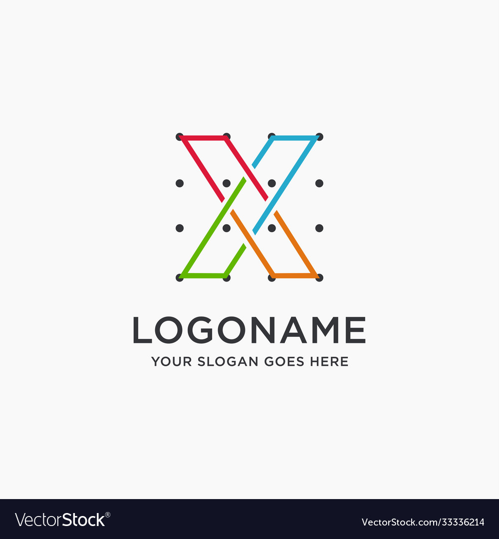 Coordinates letter x logo icon template