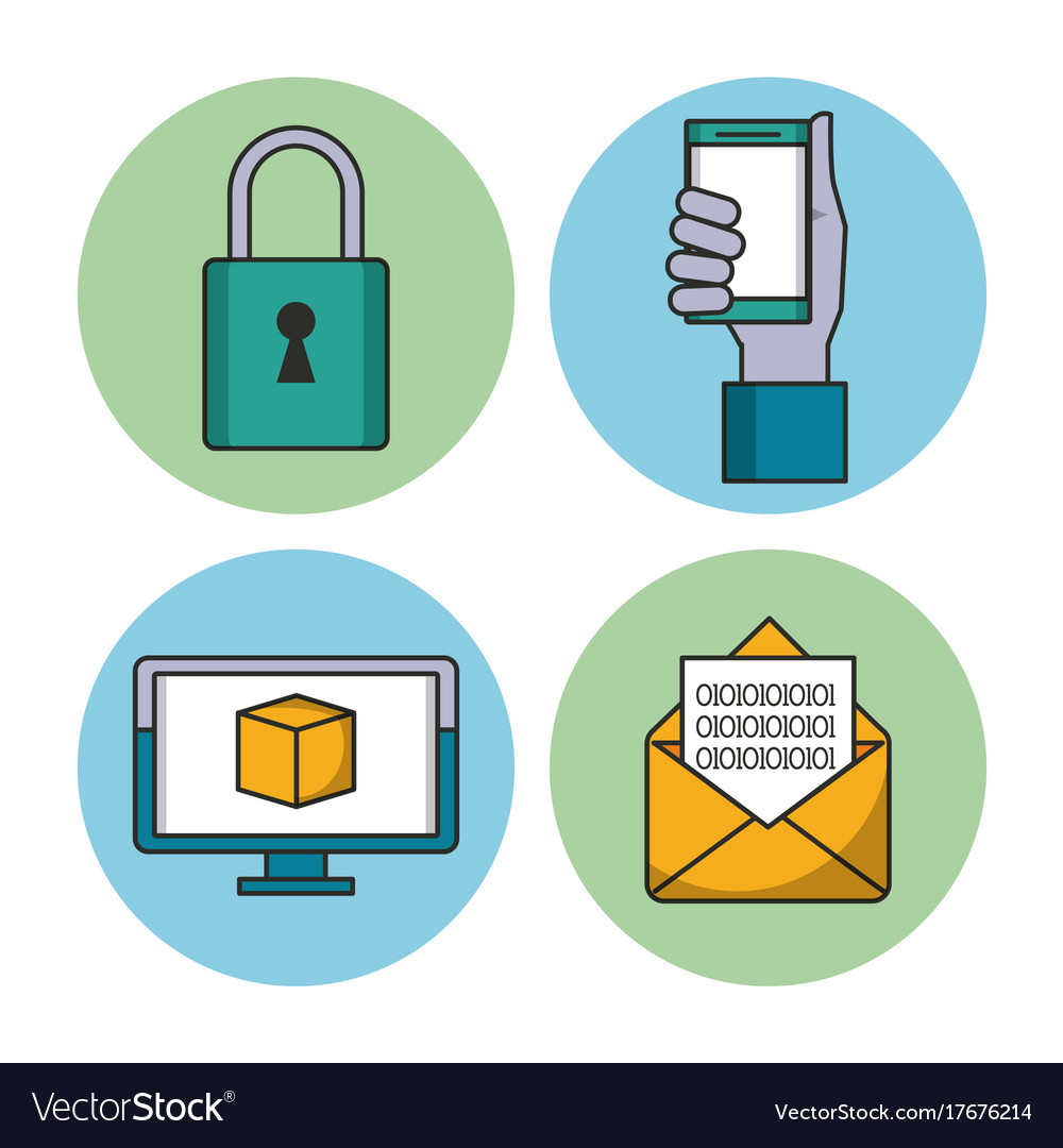 Data encryption security vector image
