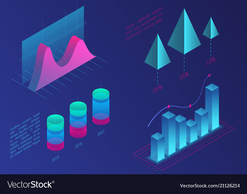 Infographic isometric graph elements data