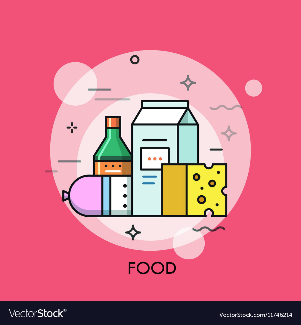 Milk sausage cheese and sauce vector image