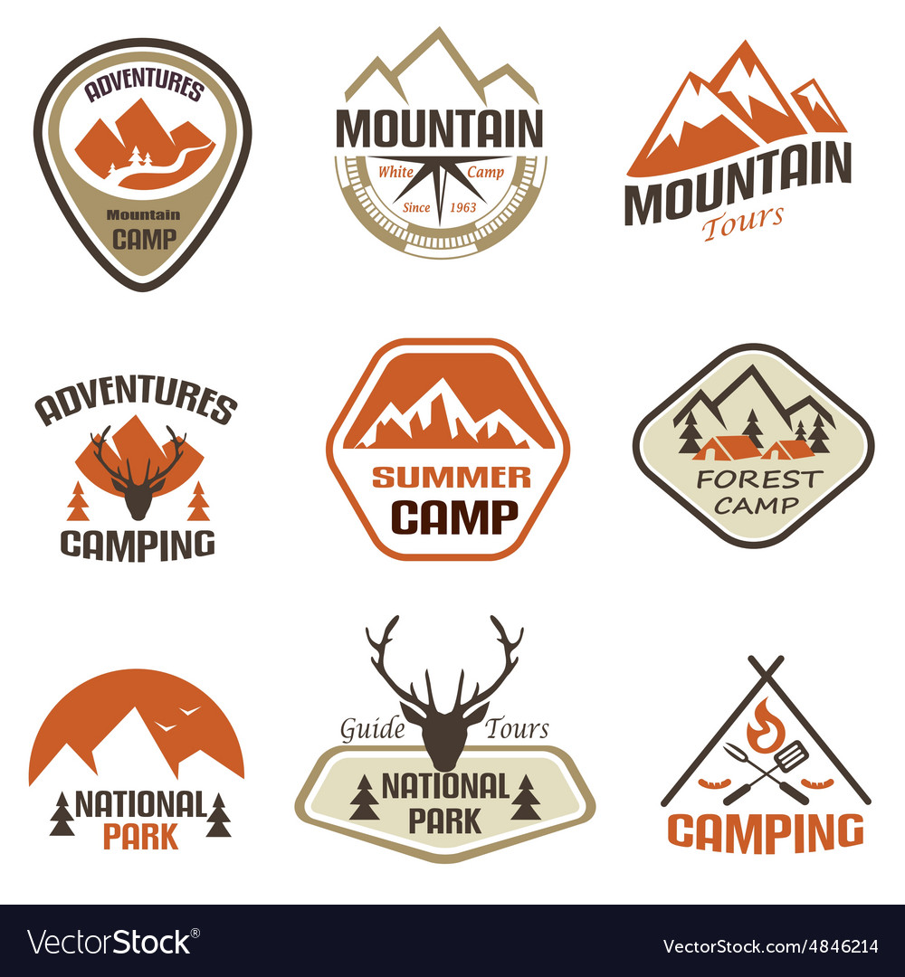 Mountain and travel retro emblems and labels set