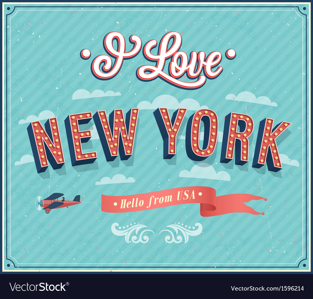 Vintage Greeting Card From New York Royalty Free Vector