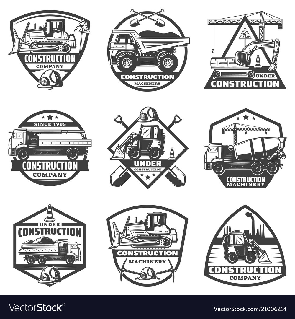 Vintage monochrome construction labels set