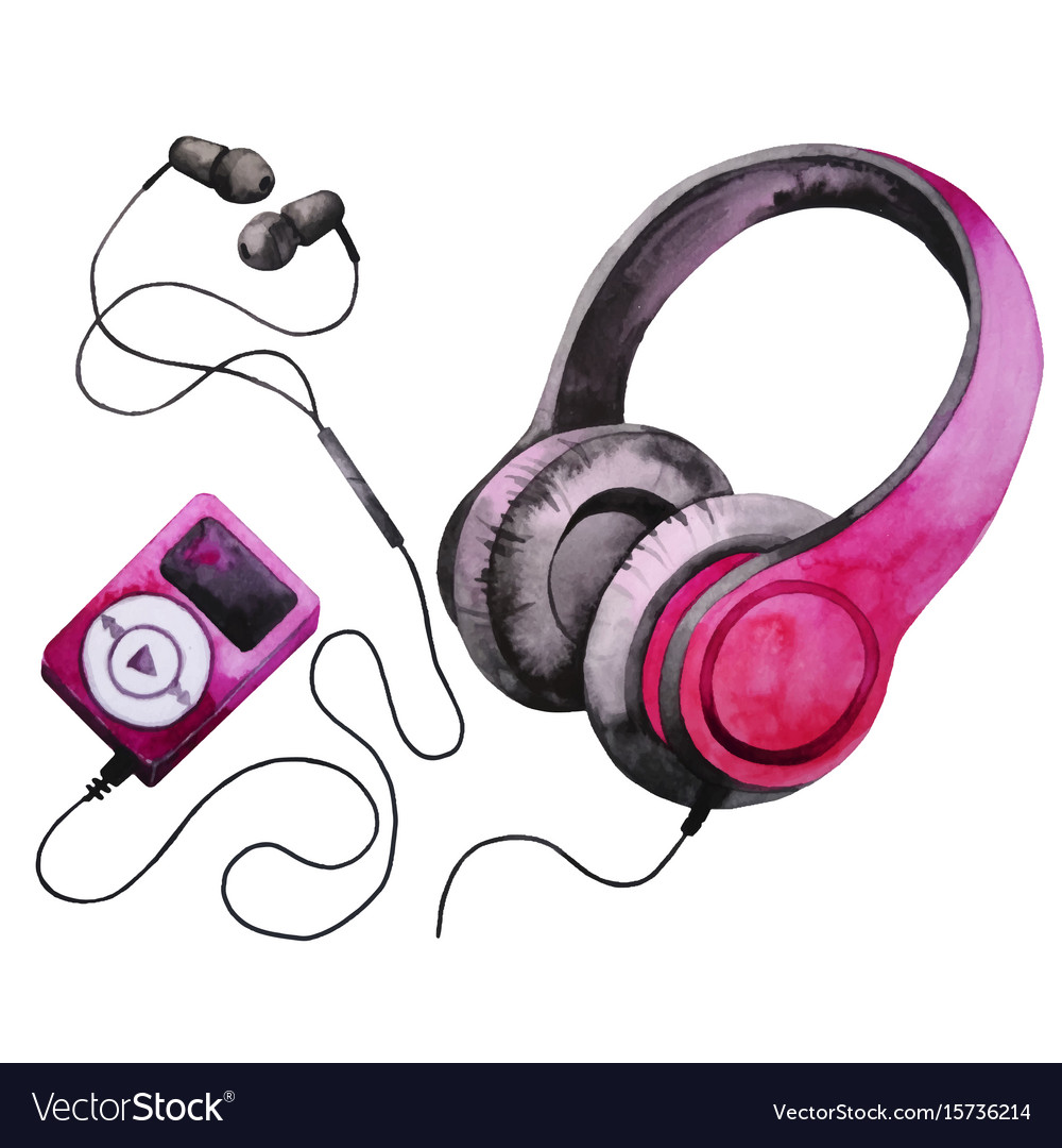 Watercolor headphones and mp3 player Royalty Free Vector