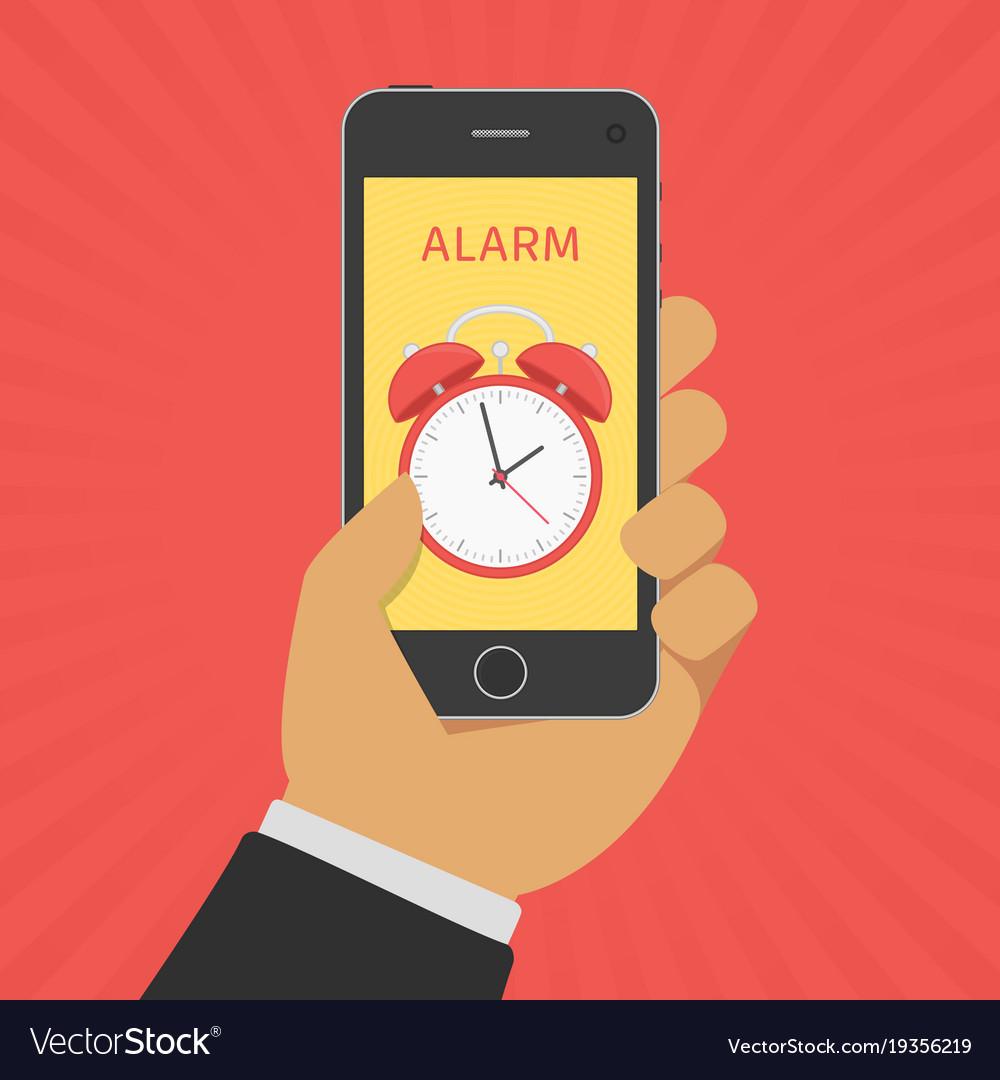 Alarm clock on smartphone screen