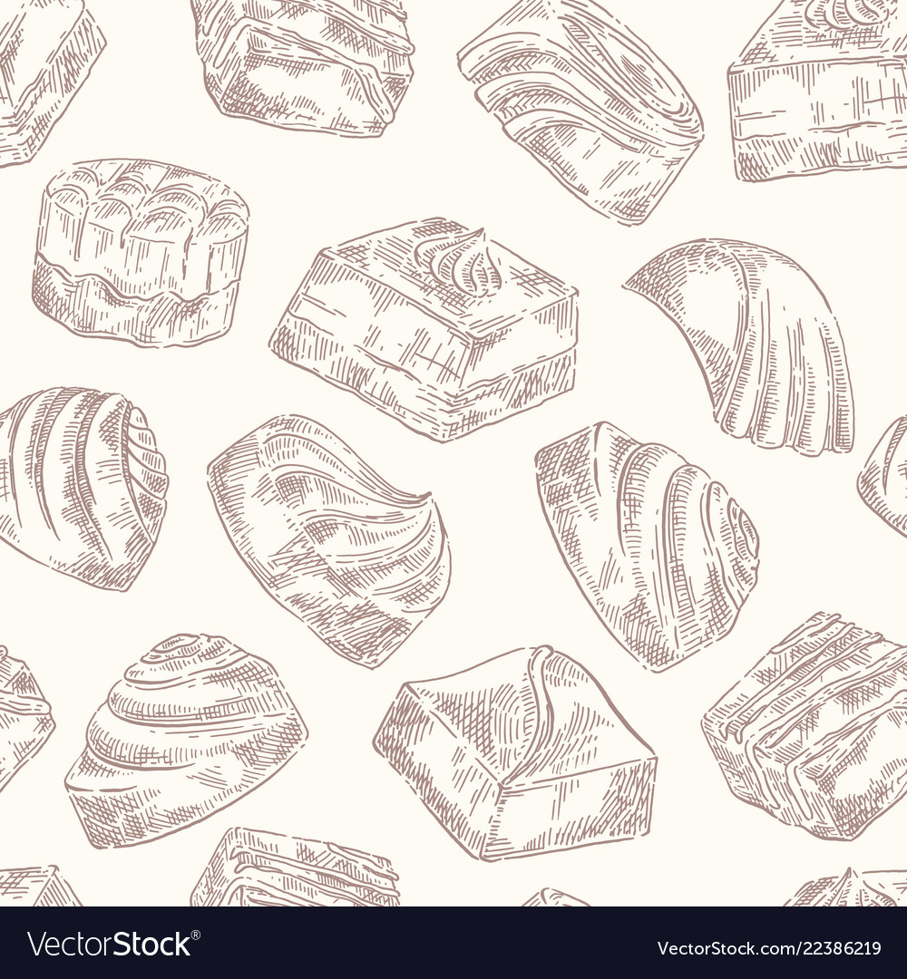 Chocolate sweets pattern sketch