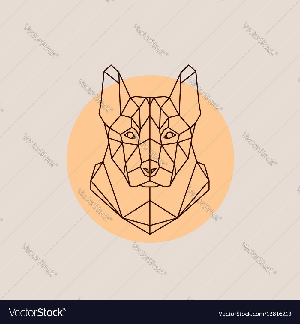 Dog shepherd head in polygonal style