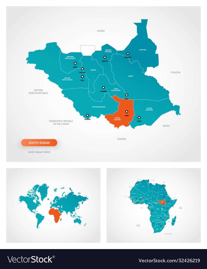 Editable template map south sudan