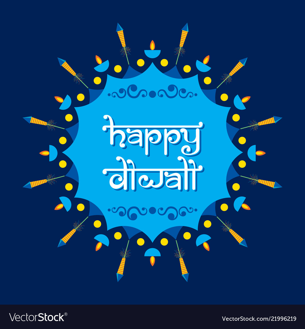 Happy Diwali Poster With Crackers Royalty Free Vector Image