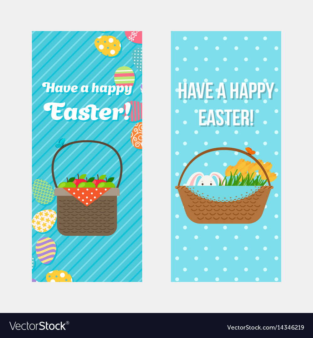 Happy easter vertical flyers template