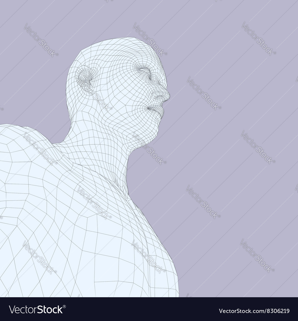 Head of the Person from a 3d Grid Human Head