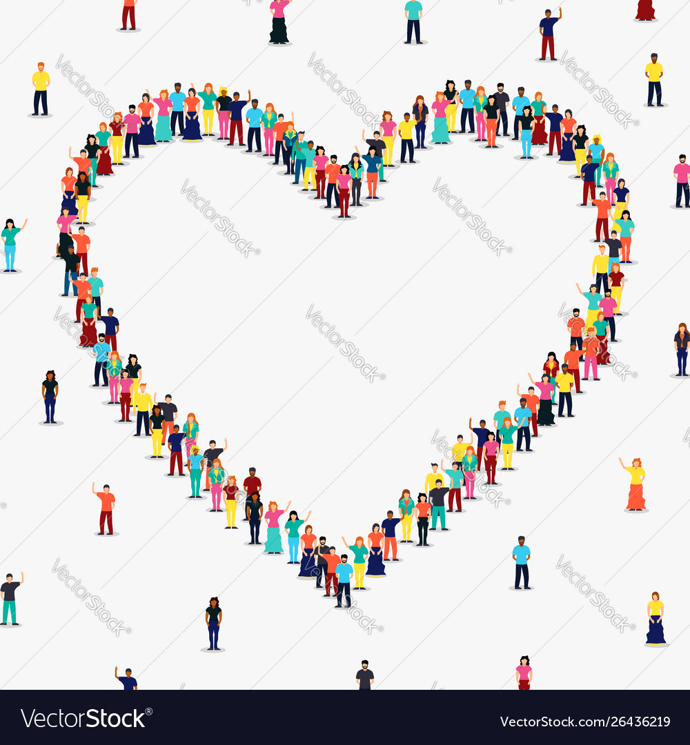 Heart shape frame diverse people group