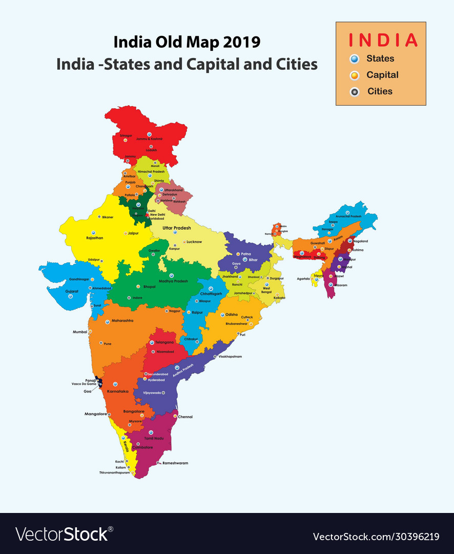 Picture of: India Map 2019 India Old Map With States Capital Vector Image