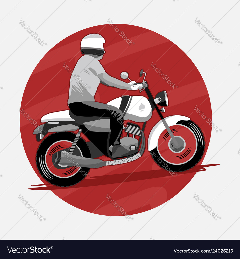 Man riding classic motorcycle