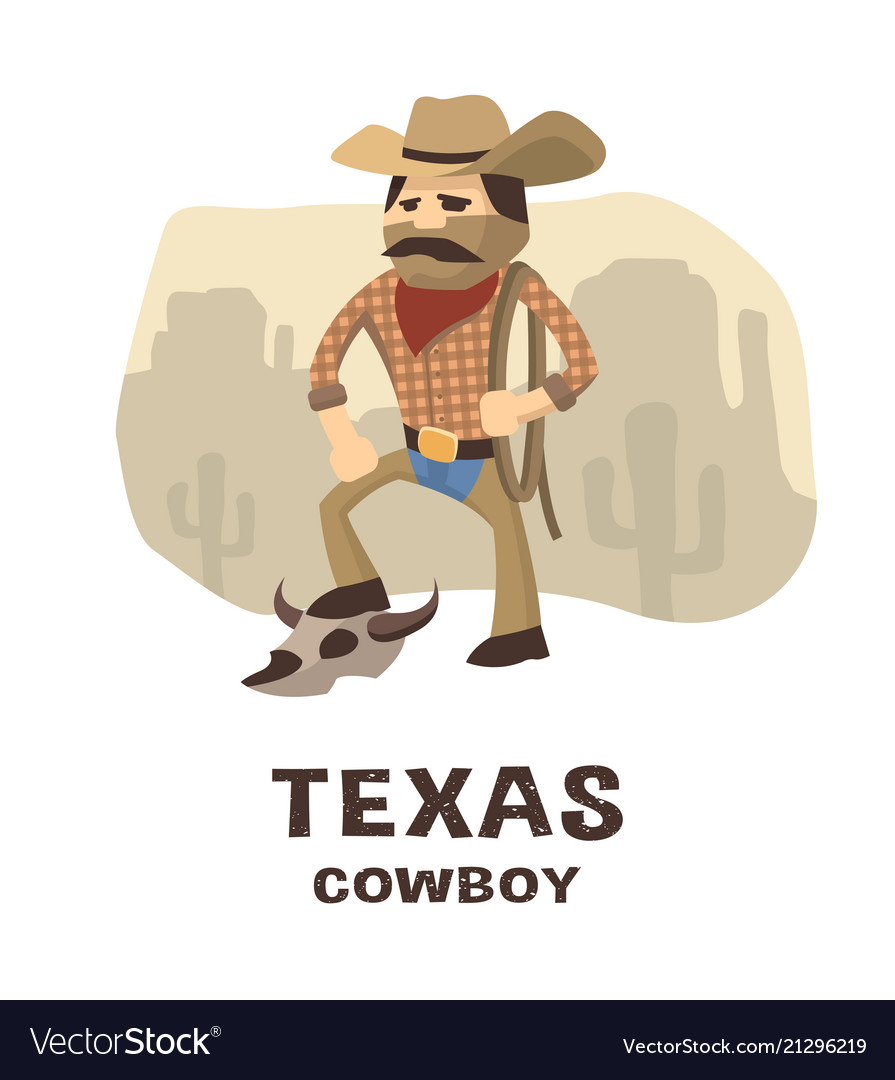 Texas cowboy in a hand drawn style