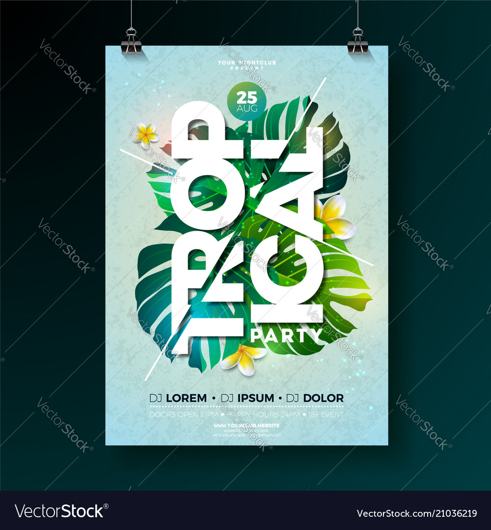 Tropical party flyer design with flower and vector image
