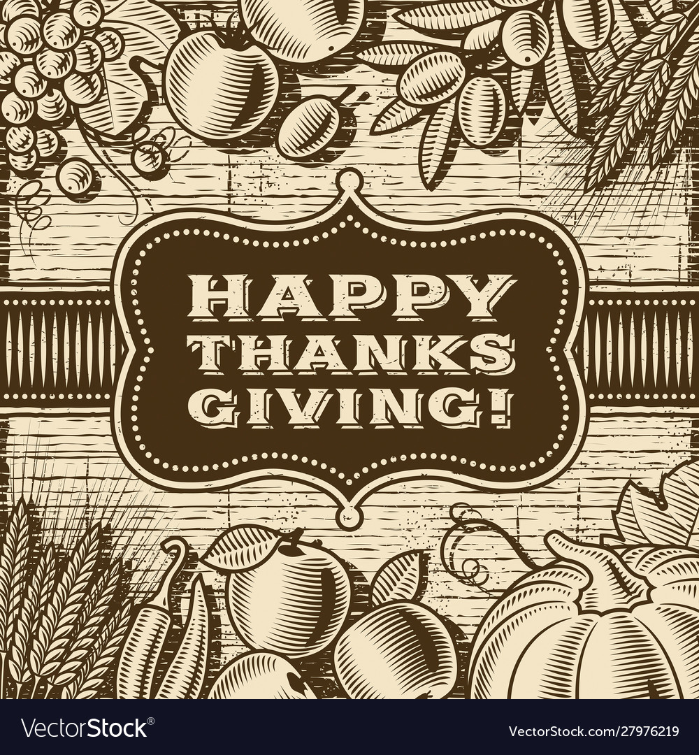 Vintage happy thanksgiving card brown
