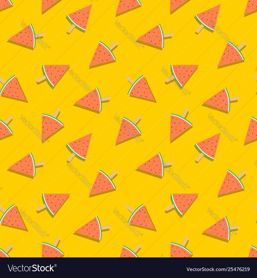 Watermelon ice cream summer seamless pattern