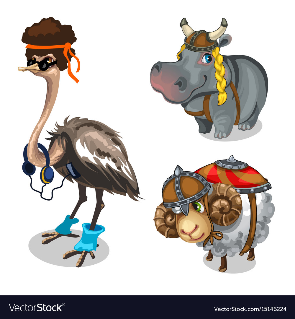 Animal in clothes ostrich hippopotamus and sheep vector image