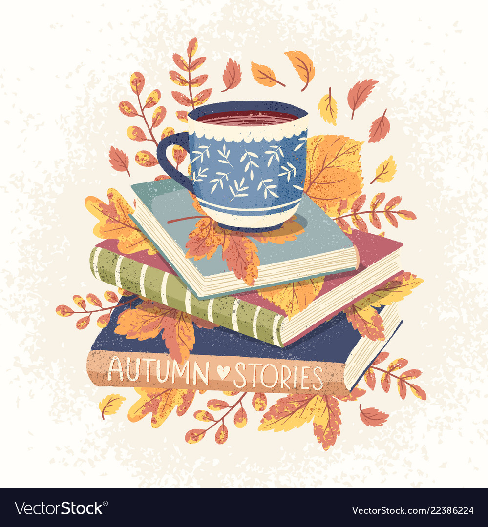 Cozy autumn cup coffee or tea and some books