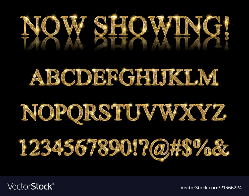 Gold alphabet letters isolated