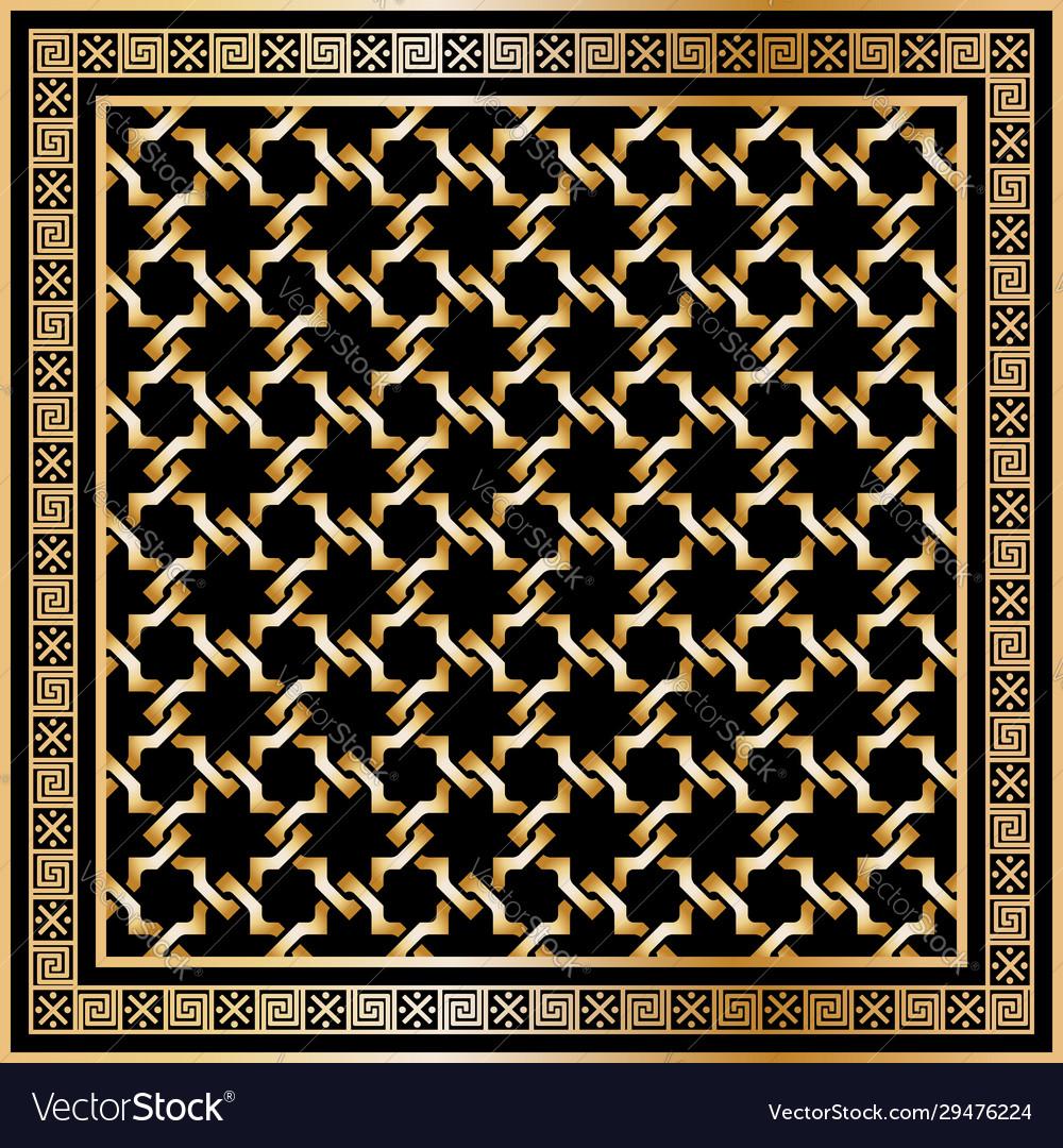 Head scarf golden pattern on black background