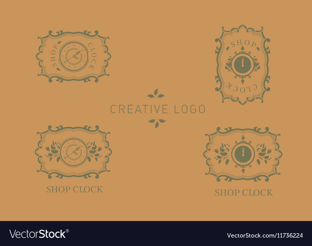 Set creative logo for store hours floral frame vector image