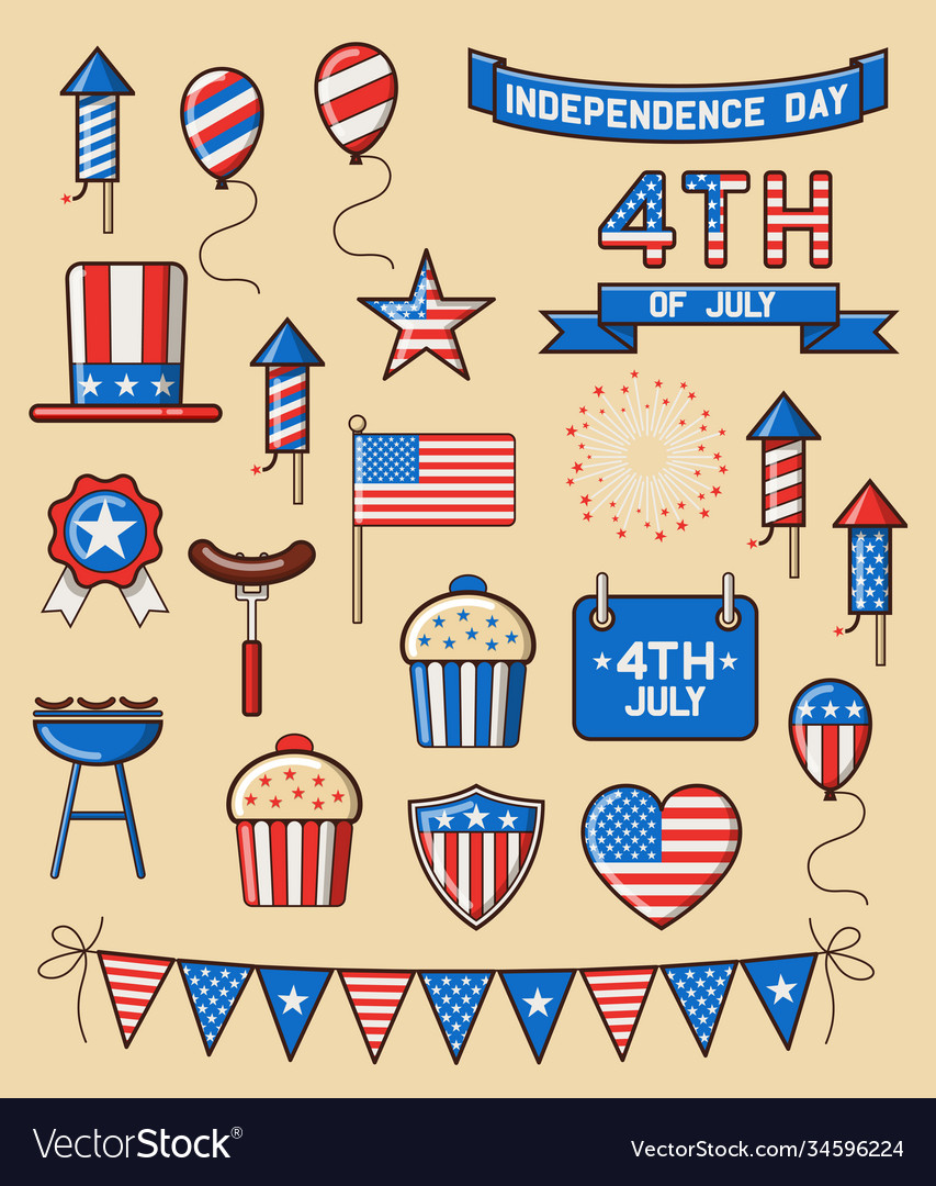 Set icons for independence day