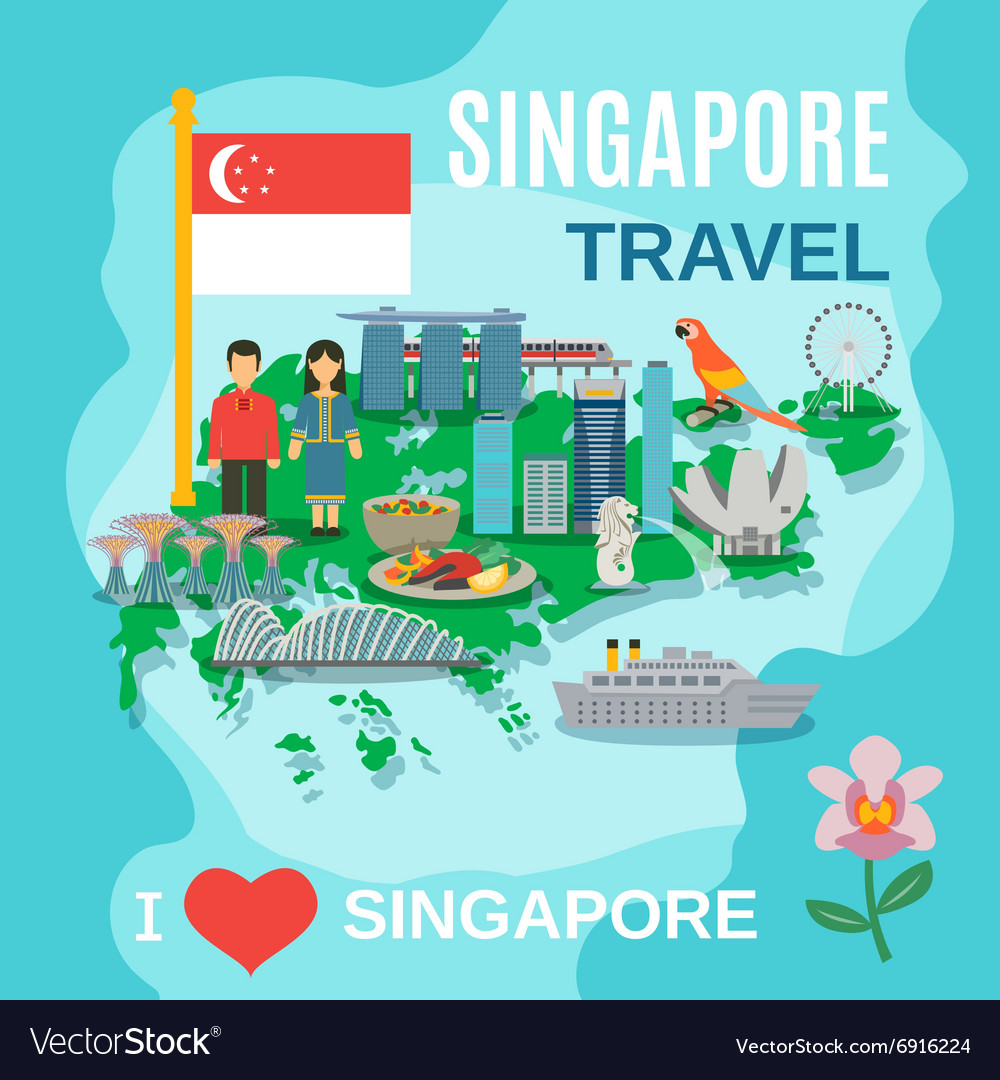 Singapore Travel National Symbols Poster vector image
